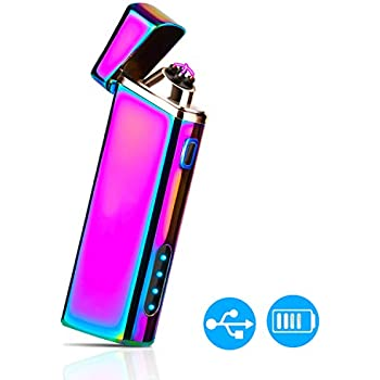 QIMAOO USB Lighter Rechar Electric Double Arc Flamless Lighter with Flashlight