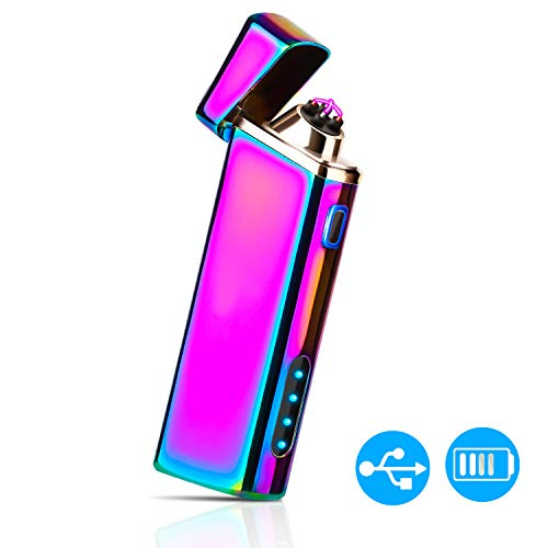 Lighter, Electric arc Lighter Plasma Windproof Lighter USB Rechargeable with Battery Display, powerful dual Arc - Magic Multi Colored