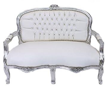 Casa Padrino Barock Kinder Sitzbank Weiß Lederoptiksilber Antik