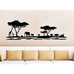 Safari Wall Decal Animals Jungle Safari African Tree Animals Jungle Giraffe Elephant Vinyl Decals Sticker Home Interior Design Art Mural Kids Nursery Baby Room Bedroom Decor