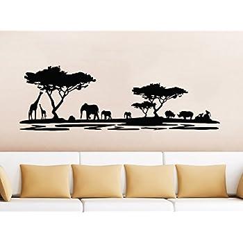 Safari Wall Decal Animals Jungle Safari African Tree Animals Jungle Giraffe  Elephant Vinyl Decals Sticker Home
