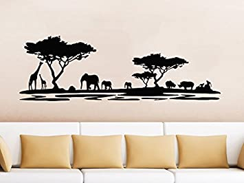 Merveilleux Safari Wall Decal Animals Jungle Safari African Tree Animals Jungle Giraffe  Elephant Vinyl Decals Sticker Home