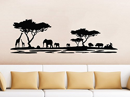 Safari Wall Decal Animals Jungle Safari African Tree Animals Jungle Giraffe Elephant Vinyl Decals Sticker Home Interior Design Art Mural Kids Nursery Baby Room Bedroom Decor (Elephant African Jungle)