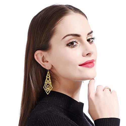 D EXCEED Women's Yellow Chandelier Drop Earrings Gift Wrapped Fashion Gold Cutout Tiered Dangle Drop Earrings