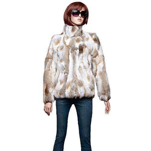 Fur Story Women's Real Rabbit Fur Coat for Winter Warm Fur Jacket(8,NatureBrown)