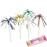 "Comicfs Cocktail Picks Handmade Bamboo Toothpicks 4.7"" Party Supplies 300 Counts BONUS Comicfs Portable Toothpick Box Pocket Set, Foil Fireworks - 16A"