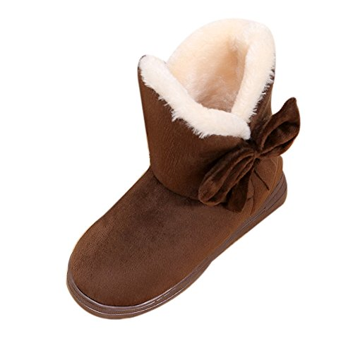 Womens Warm Plush Bowknot Snow Boots Autumn Winter Faux Fur Lined Flats Dress Party Short Boots Shoes 4.5-8 (Coffee, US:4.5-5)