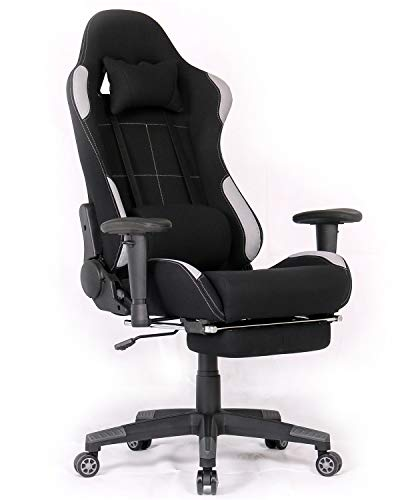Ergonomic Gaming Chair Racing Style Office Chair Recliner Computer Chair Fabric High-Back E-Sports Chair Height Adjustable Gaming Office Desk Chair with Massage and Footrest - Fabric Chair Massage