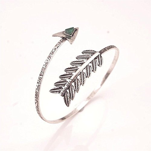 Ownsig Lady's Bohemian Open Bangle Ethnic Armlet Magnificent Gem Beautiful Bracelet Arm Cuff Silver