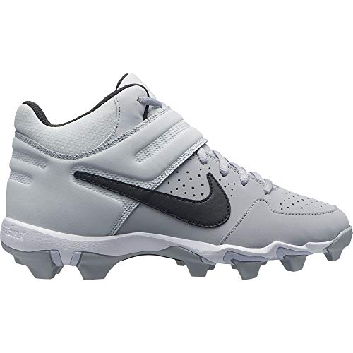 Nike Kids Alpha Huarache Varsity Keystone Mid GS Baseball Cleat Wolf Grey/Black/Pure Platinum Size 4 M US
