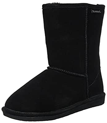 Bearpaw Womens EMMA SHORT Round Toe Suede Cold Weather Boots, Black, Size 5
