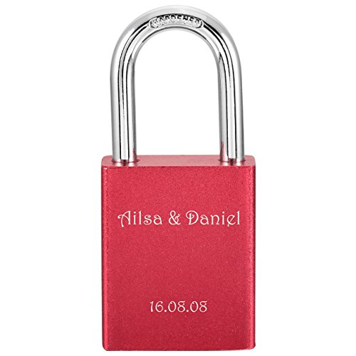 MeMeDIY Red Aluminum Padlock Lock Key Love - Customized Engraving