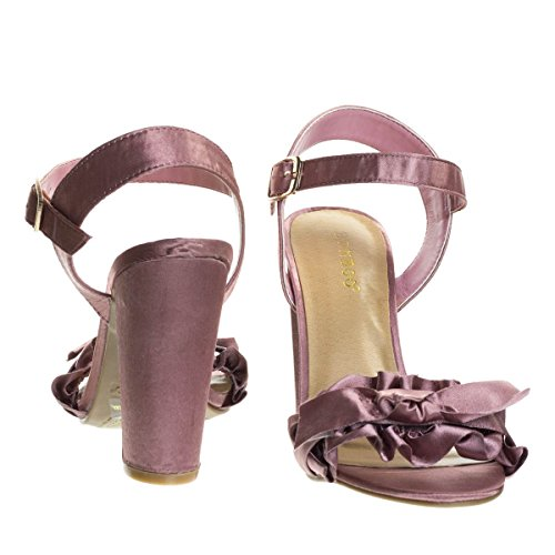Women Bow On Ruffle Sandal Pink Shoe Heel Block Chunky Satin Dress Open Toe Mavue w0qgAg