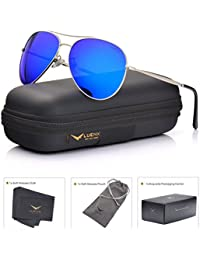 Aviator Sunglasses Men Women Mirror Polarized UV400 Metal Frame 60MM (6-Dark Blue, 60)