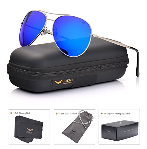 LUENX Aviator Sunglasses Men Women Mirror Polarized UV400 Metal Frame 60MM (6-Dark Blue, 60) by LUENX