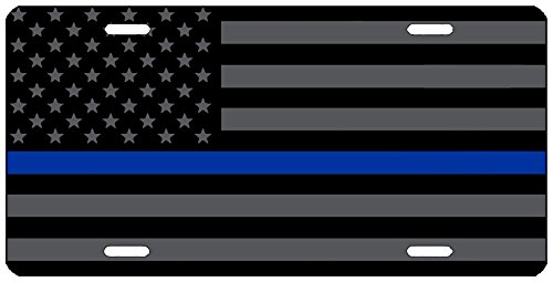 (Thin Blue Line Blue Lives Matter Flag License Plate Novelty Auto Car Tag Vanity Gift For Police Officer)