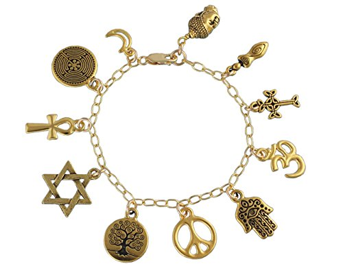 Peace World Religions Coexist Charm Bracelet- 22k Gold Plated Charms,14k Gold-fill Chain- Size M (7.5 Inches (Med))