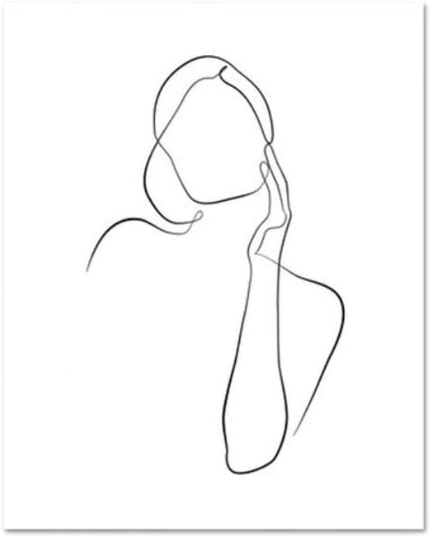 Poster Women Minimal Line Drawing Sketch Posters Abstract Nude Female Body Art Modern Canvas Painting Wall Pictures For Living Room B 80x100cm Amazon Co Uk Kitchen Home