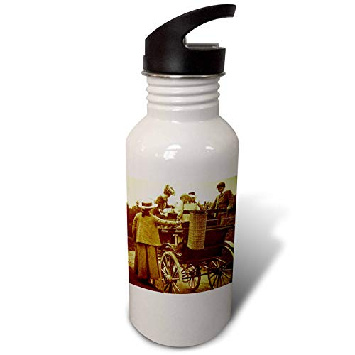 3dRose Scenes from The Past - Magic Lantern - Edwardian Family Loading into Early Automobile Circa 1905 - Flip Straw 21oz Water Bottle (wb_300300_2)