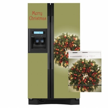 Holiday Wreath Combo Appliance Art Decorative Magnetic Dishwasher & Refrigerator Front Panel Cover - Quick, Easy & Affordable DIY Kitchen Upgrade