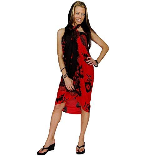 1mundo pareos para mujer Bañador de flor de Hibiscus Sarong en color de su elección Red/black Leaf