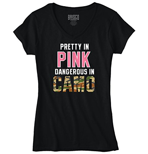 Pretty in Pink Dangerous in Camo Funny Hunting Country Fashion Junior Fit V-Neck T-Shirt