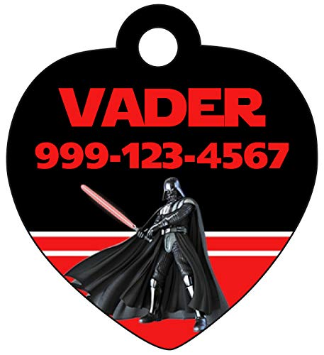 uDesignUSA Disney Star Wars Pet Id Tag for Dogs & Cats Personalized w/Name & Number (Darth Vader) ()