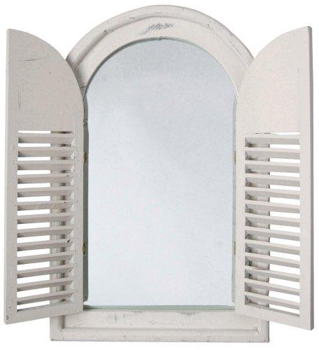 Esschert Design - Espejo Envejecido de Madera y Cristal con Puertas francesas, WD05, 37x5x59cm - Color Bla