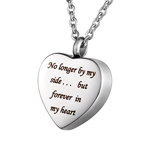 HOUSWEETY Stainless Steel Engraved Urn Pendant Necklace - Memorial Ash Keepsake - Cremation Jewelry (Engraving) (Service Dog Jewelry)