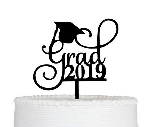 Qttier Grad 2019 Cake Topper -Graduation Cake Topper-Grad Party Decorations (Black)