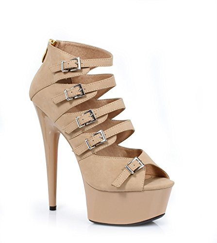 Ellie Shoes 6 Stiletto In Pu Met Multi Gesp Accenten