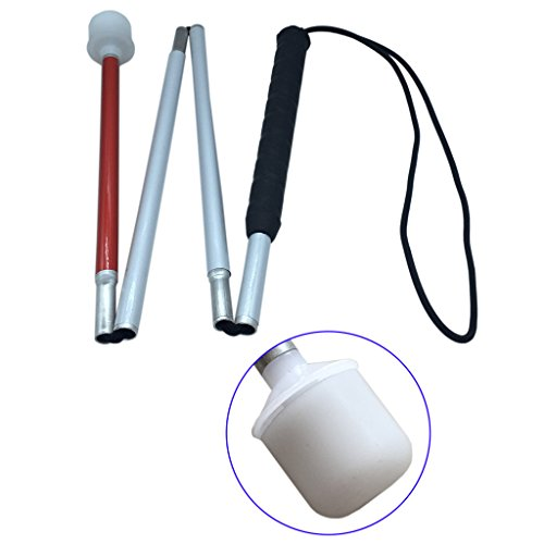 Aluminum Mobility Folding Cane For the Blind (Folds Down 4 Sections) White Cane For Children