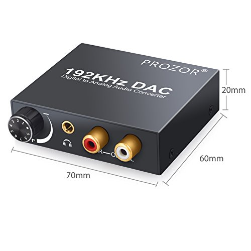 PROZOR Digital to Analog Converter DAC Digital SPDIF Toslink to Analog Stereo Audio L R Converter Adapter with Optical Cable for PS3 Xbox HD DVD PS4 Home Cinema Systems AV Amps Apple TV