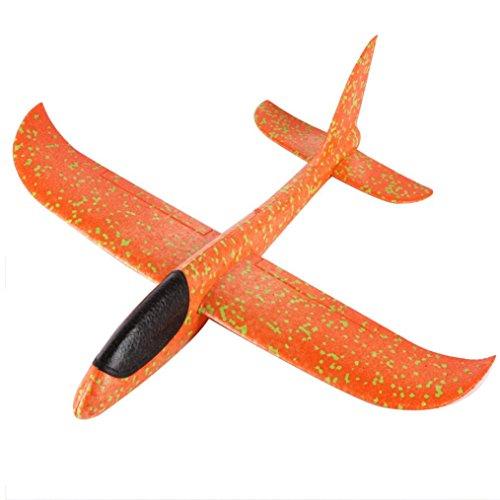 Lookatool Foam Throwing Glider Airplane Inertia Aircraft Toy Hand Launch Airplane Model (Orange)