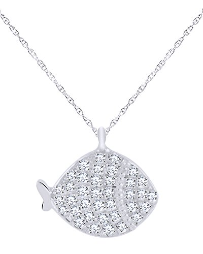 Round Cut White Natural Diamond Fish Pendant Necklace in 18K Solid White Gold