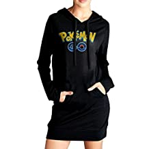 Elva Women Pockets Pullover Kangaroo Hoodie Pokemon Sweatshirt Dress Black