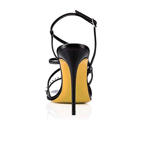 SHEO sandalias de tacón alto Zapatos de tacón alto para mujer con una bolsa de sandalias redondas con punta abierta Negro