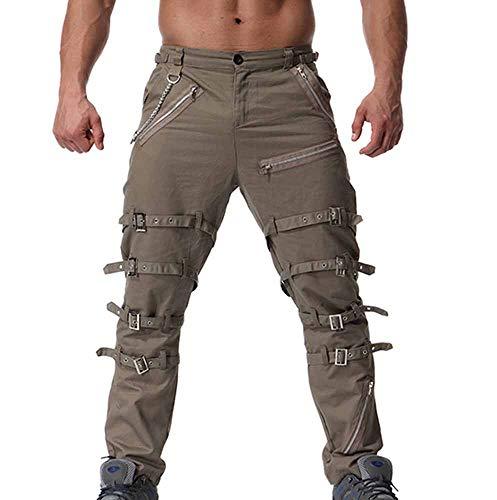 Multi Design Casual Da Metallo Zipper Pantaloni tasca Hop Jogging Huateng Verde Con Hip Uomo Di In Strada SOqE1wx