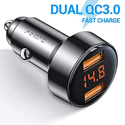 Car Charger Adapter, AINOPE Dual QC3.0 Port 6A/36W USB Car Charger All Metal Cigarette Lighter USB Charger Voltage Display Compatible with iPhone 11/11 pro/XR/X/XS/8, Samsung Note 8/S9/S10+/S8 - Black: Home Audio & Theater