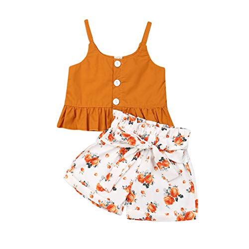 Toddler Baby Girl Floral Off The Shoulder Strap Top + Pleated Wide Leg Pants Summer Clothes Outfits Set (Orange Vest top &Floral Short Pants, 12-18 Months)