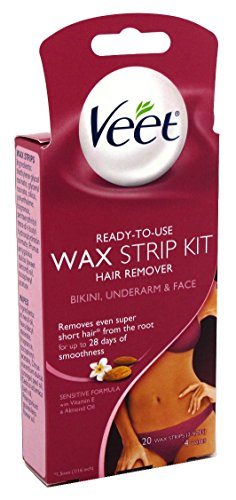 Veet Ready To Use Wax Strip Kit 20's(Bikini-Underarm-Face) (3 Pack)