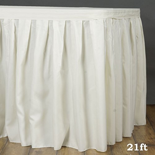 LinenTablecloth 21 ft. Accordion Pleat Polyester Table Skirt Ivory - Table 21' Skirt Polyester