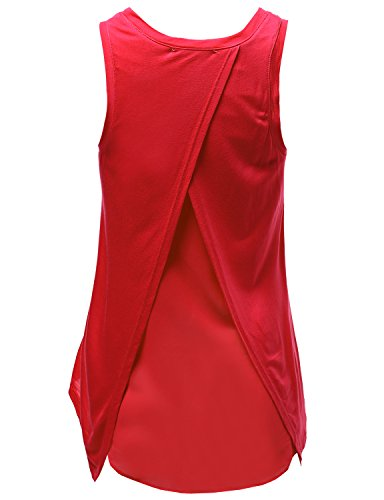 Basic Solid Jersey Open Tulip Back Tank Tops Red Size L