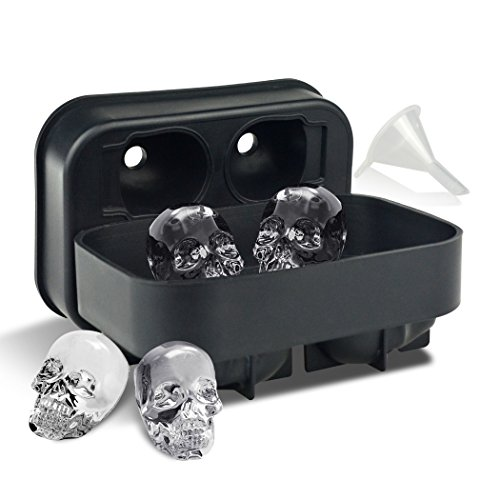 3D Skull Ice Cube Trays for Whisky, Cocktail, Wine, Kitchen, Bar, Party and Halloween by LINPOZONE