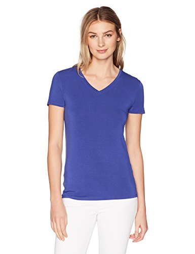 Lark & Ro Women's Short Sleeve Soft V-Neck T-Shirt