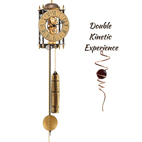 Qwirly Kinetic Joy Bundle: Hermle Stamford Skeleton Mechanical Movement Wall Clock & Optical Illusion Decorative Spinner - Decorative 8 Day Chain Driven Wall Clock with Pendulum and - Kinetic Cast Iron