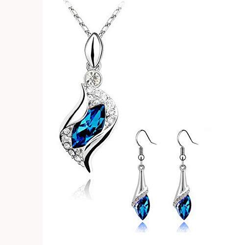 - Dmitongz Women Sterling Silver Chain Angel Teardrop Blue Diamond Pendant Necklaces Zirconia CZ Pendant Necklace Wedding Jewelry