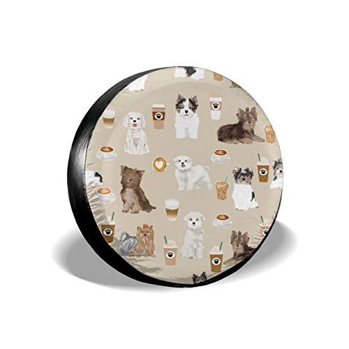 X-Large Toy Dogs Cute Dog Coffees Polyester Universal Spare Wheel Tire Cover Wheel Covers Jeep Trailer RV SUV Truck Camper Travel Trailer Accessories 15 inch
