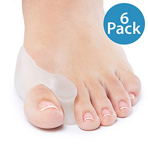 NatraCure Gel Big Toe Bunion Guards & Toe Spreaders - 1315-M RET6PK - (6 Pack) - (for Pain Relief from Crooked Toes, Pressure, and Hallux Bunions)