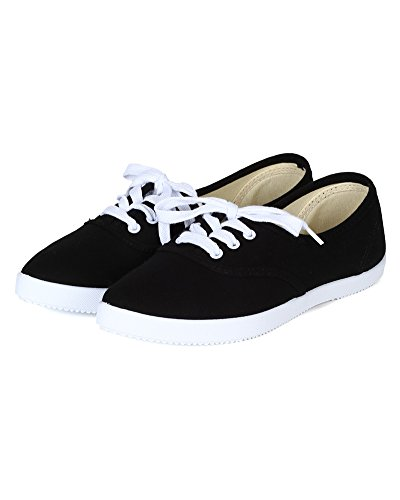 Qupid Be70 Donna Canvas Punta A Punta Lace Up Fashion Sneaker - Nero